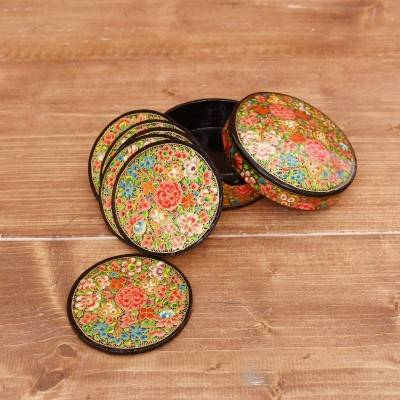 Hand Painted Paper Mache Round Coaster Set with Box return gift