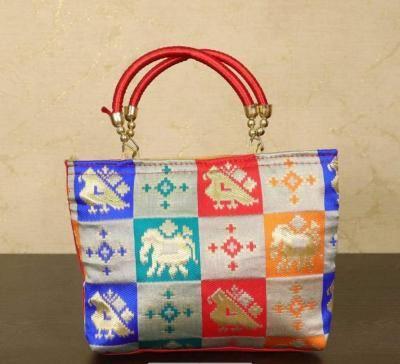 Hand bag raw silk multicolour checks with thread handle return gift