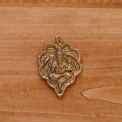 White Metal Pendant Leaf Ganesha Gold Oxidised return gift