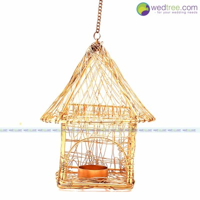 Hut Candle Light Holder - Hut Candle Light Holder made of copper with gold finsh .