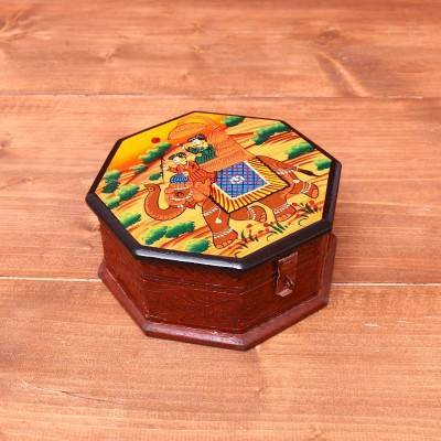 Wooden Hand painted Dry Fruit Box 7 inch return gift