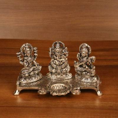 Oxidised Lakshmi, Ganesha, Saraswati with Diya return gift