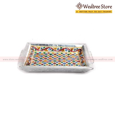 Tray Box - Minakari----is the art of coloring and ornamenting the surface of metals by fusing over it brilliant colors that are decorated in an intricate design return gift