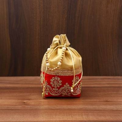 Potli Bag Square Base with Velvet flower embroidery Lace return gift