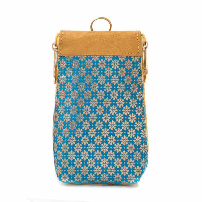 Mobile Holder - purse and mobile pouch with flower print return gift