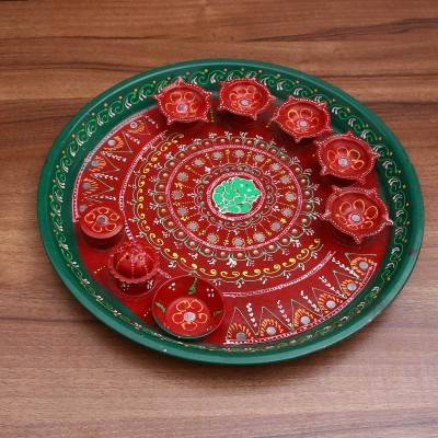 Hand painted arthi thali Indian return gift