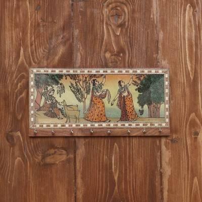 Dark Wood Gemstone Painting Key Hanger 10 X 4 inch return gift