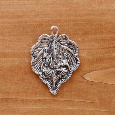 White metal pendant leaf ganesha silver oxidised return gift