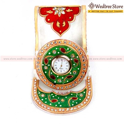 Mobile Holder - Hand painted marble mobile holder with clock return gift