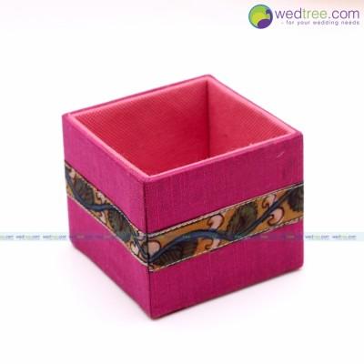 Stand - Multi purpose stand made of silk & kalamkari fabric return gift