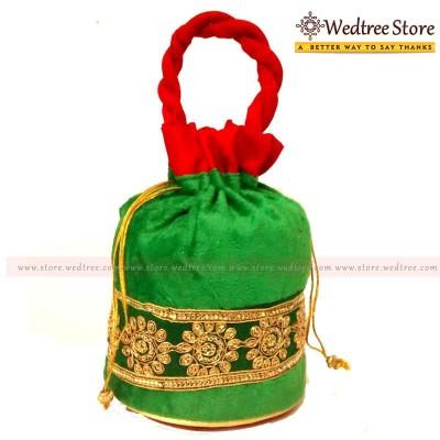 Potli Bag  - Potli bag made of velvette fabric with flower design return gift