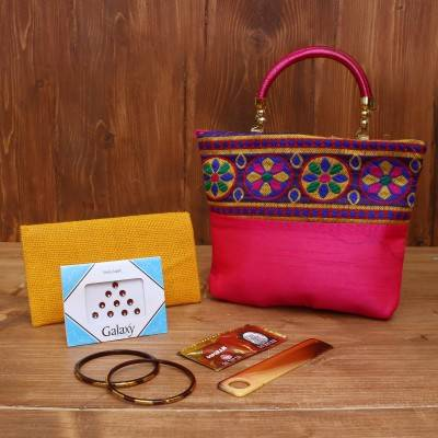 Gift Combo Jute Purse with Oonjal ganesha small return gift