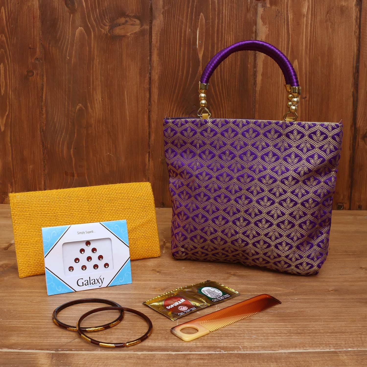 Gift Combo Jute Purse with Bangle Holder Kalamkari design return gift