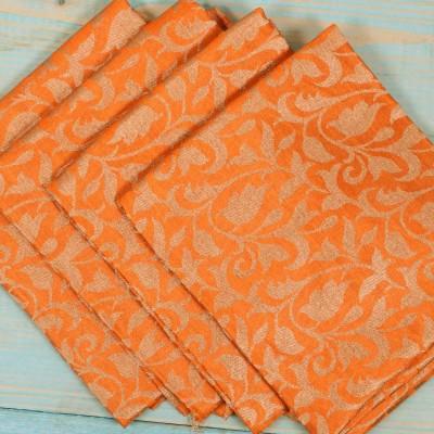 Brocade Blouse Bit - Brocade Blouse Bit Orange Floral Design - Pack of 10