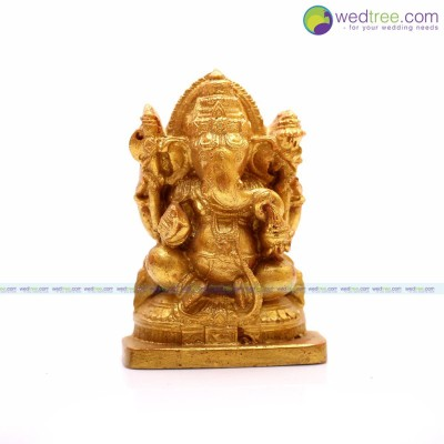 Idol Ganesha - Ganesha idol made of elastic fibre in gold colour return gift