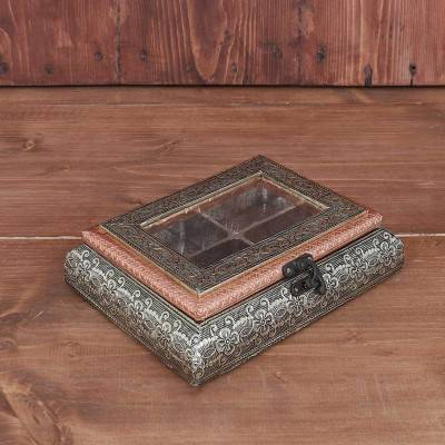 German oxidised transparent dry fruit box 6 X 8 inch return gift