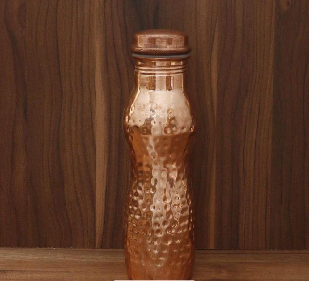 Copper Bottle curve shape with hamered design return gift