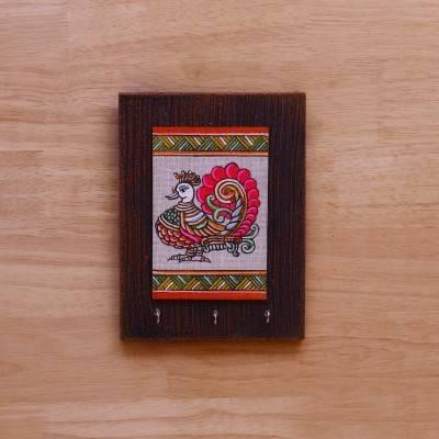Wooden Key Hanger with Jute Art Annapakshi return gift
