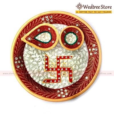 Swasthik - Decorative marble arthi thali return gift