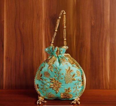 Potli bag raw silk with golden thread embroidery return gift