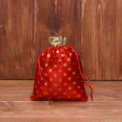 String bag satin polka dots return gift