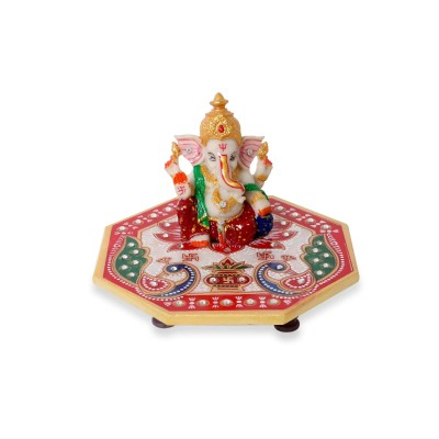 chowki - Marble - Hexagon Shaped chowki with peacock design and ganesh 6 inch
