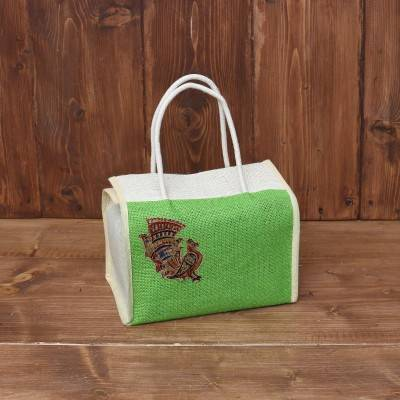 Jute Lunch bag with Mixed  Applique Work return gift