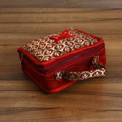 Jewel Pouch with golden leaf design small Indian return gift