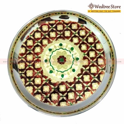 Plate - Minakari----is the art of coloring and ornamenting the surface of metals by fusing over it brilliant colors that are decorated in an intricate design return gift