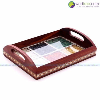Stone Tray - Serving tray made of wood with gemstones.