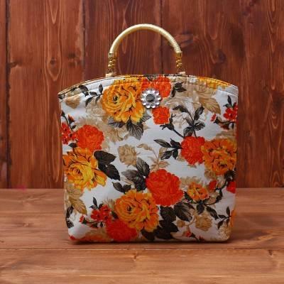 Hand bag raw silk with floral design medium return gift