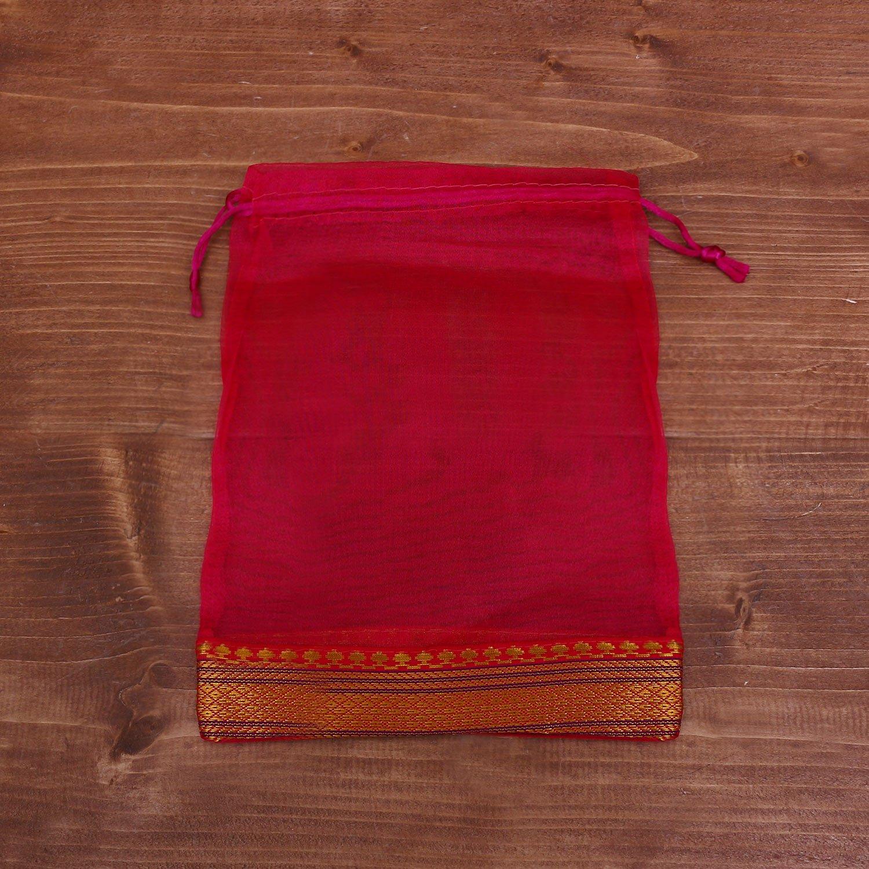 String bag tissue with zari lace medium -W3946 return gift