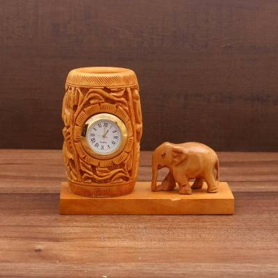 Wooden Pen Stand With Clock Indian return gift