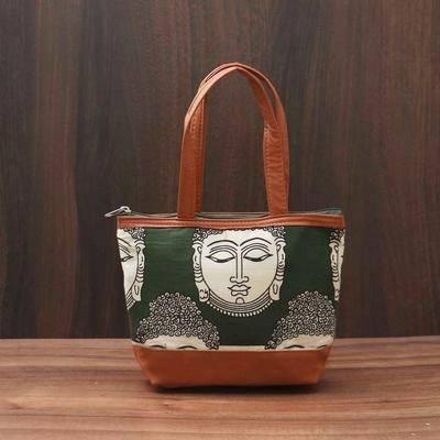 Kalamkari Hand Bag with Buddha Face small - Indian return gift