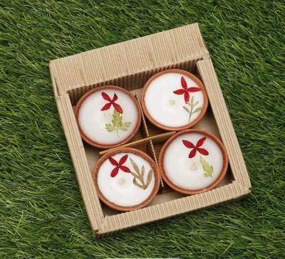 Scented T light candle with clay pot pack of 4 return gift