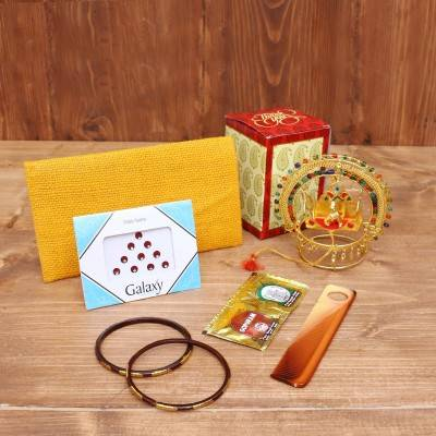 Gift Combo Jute Purse with Deepam Kumkum Holder return gift