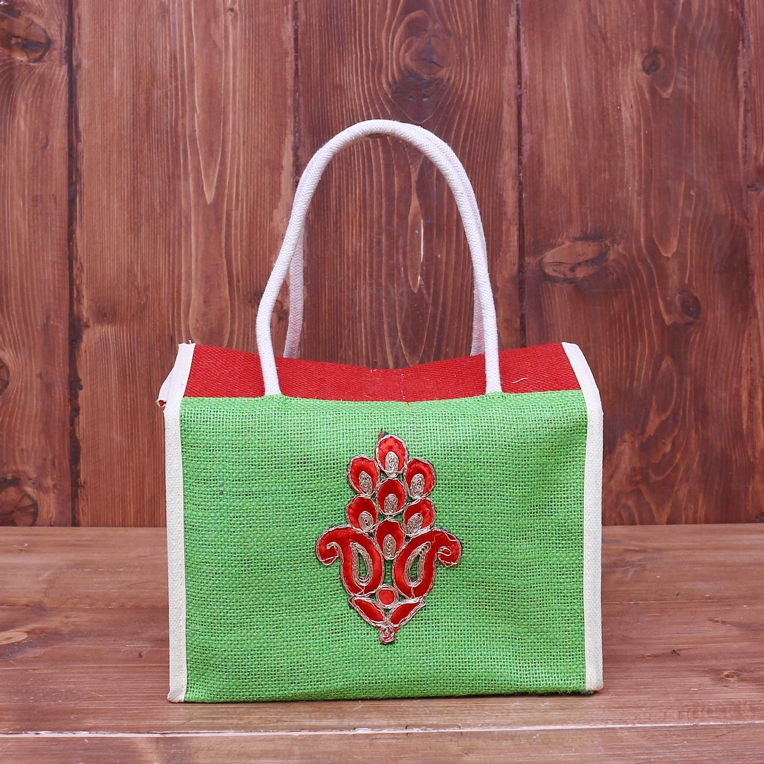 Jute Lunch Bag with Paisley Applique work return gift