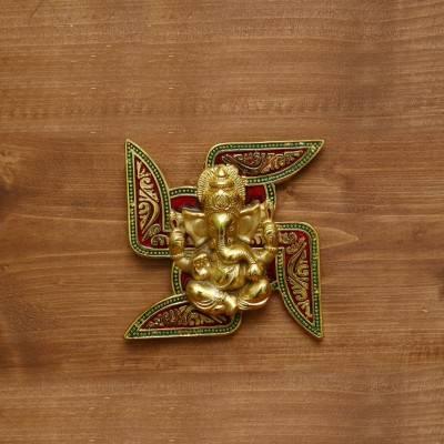 White Metal Wall Hanging Swastik Ganesha Gold Finish return gift