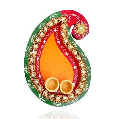Arthi Thali with Kumkum Holder - Wooden Mango Shape Arthi Thali with Kumkum Holder