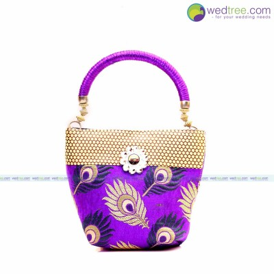 Hand Bag - Hand bag made of fabric with peacock design with motif return gift