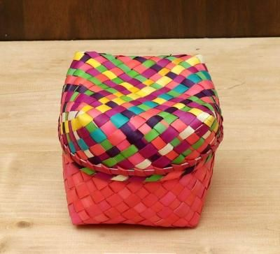 Palm Leaf Square box with multi color lid return gift