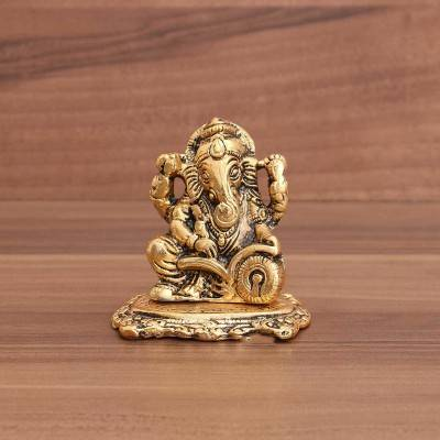 White Metal Ganesha with Base Gold Finish return gift