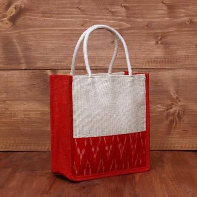 Jute Bag with ikkat Border 10 X 10 inch return gift