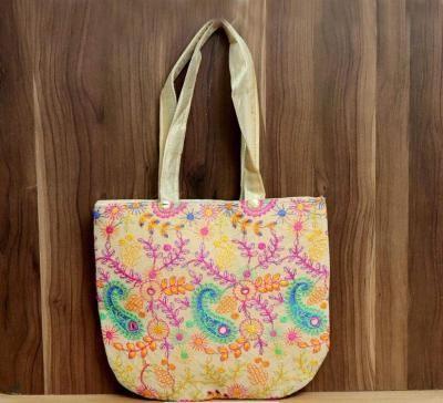 Hand Bag U shape velvette and raw silk embroidery return gift