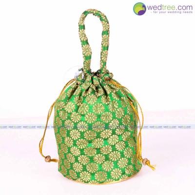 Potli Bag  - Potli Bag made of brocade fabric with flower design return gift