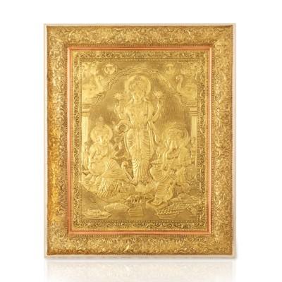 Wall Hanging-Oxidised Saraswathi  Lakshmi and Ganesha return gift