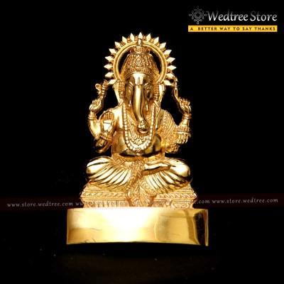 Ganesha - Murti ganesha made of zinc alloy with gold electro plating return gift