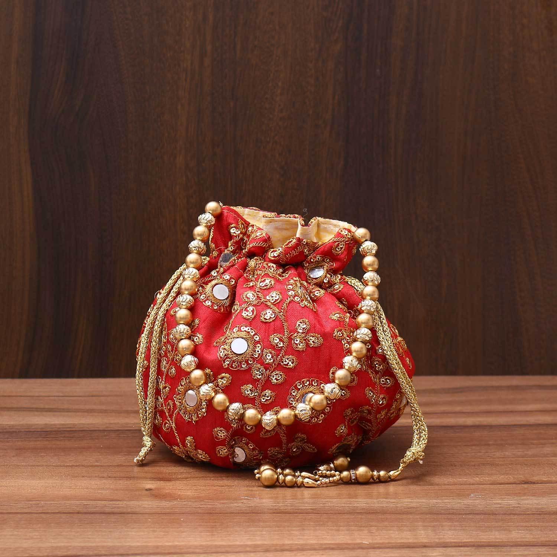 Designer Potli bag with mirror & chamki work - Indian return gift