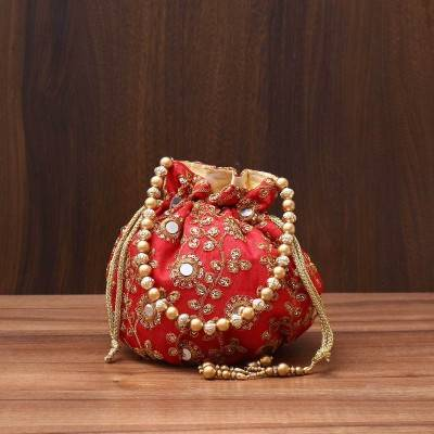 Designer Potli bag with mirror & chamki work - Indian return gift
