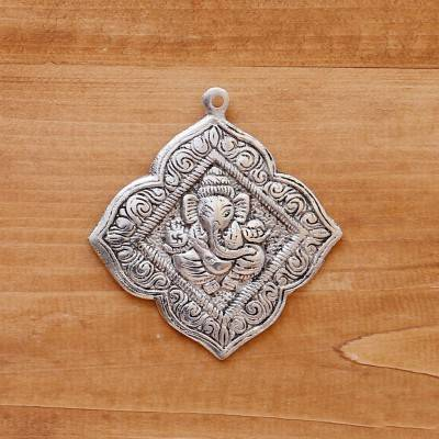 White Metal Pendant Ganesha Silver Oxidised Big return gift